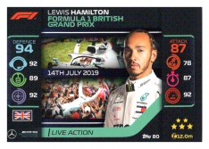 2020 Topps Formule 1 Turbo Attax 80 Live Action Lewis Hamilton Mercedes AMG