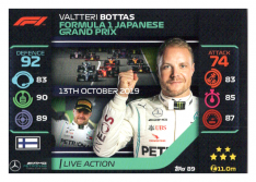 2020 Topps Formule 1 Turbo Attax 89 Live Action Valtteri Bottas Mercedes AMG