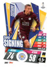 fotbalová kartička 2020-21 Topps Match Attax Champions League SIGN8 Timothy Castagne Leicester City