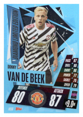 fotbalová kartička 2020-21 Topps Match Attax Champions League Diamond Limited Edition LE13 Donnie van de Beek Manchester United