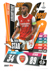 fotbalová kartička 2020-21 Topps Match Attax Champions League STAR20 Pierre-Emerick Aubameyang Arsenal
