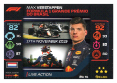 2020 Topps Formule 1 Turbo Attax 91 Live Action Max Verstappen Aston Martin Red Bull Racing