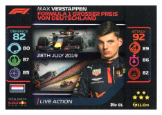 2020 Topps Formule 1 Turbo Attax 81 Live Action Max Verstappen Aston Martin Red Bull Racing