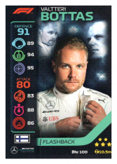2020 Topps Formule 1 Turbo Attax 100 Flashback Valteri Bottas Mercedes AMG