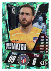 fotbalová kartička Topps Match Attax Champions League 2020-21 Man of the Match MM4 Jan Oblak - Atlético de Madrid