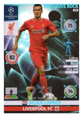 2014-15 Panini Adrenalyn XL Champions League 295 Defenisve Rock Dejan Lovren Liverpool FC