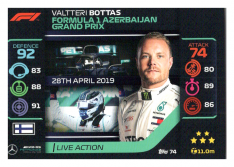 2020 Topps Formule 1 Turbo Attax 74 Live Action Valtteri Bottas Mercedes AMG