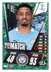 fotbalová kartička 2020-21 Topps Match Attax Champions League Extra Man of the Match MOTM1  Gabriel Jesús Manchester City