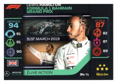 2020 Topps Formule 1 Turbo Attax 71 Live Action Lewis Hamilton Mercedes AMG