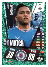 fotbalová kartička 2020-21 Topps Match Attax Champions League Extra Man of the Match MOTM7 Alfredo Morelos Rangers