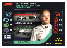 2020 Topps Formule 1 Turbo Attax 78 Live Action Valtteri Bottas Mercedes AMG