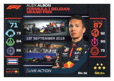 2020 Topps Formule 1 Turbo Attax 86 Live Action Alex Albon Aston Martin Red Bull Racing
