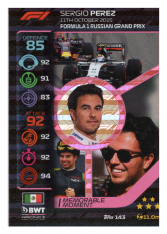 2020 Topps Formule 1 Turbo Attax 143 Memorable Moments Sergio BWT Racing Point