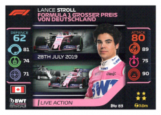 2020 Topps Formule 1 Turbo Attax 83 Live Action Lance Stroll BWT Racing Point