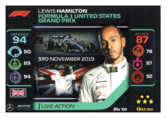 2020 Topps Formule 1 Turbo Attax 90 Live Action Lewis Hamilton Mercedes AMG