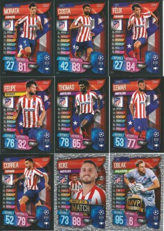 2019-20 Topps Match Attax Champions League Týmový set Atletico Madrid