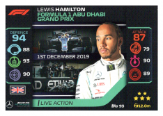 2020 Topps Formule 1 Turbo Attax 93 Live Action Lewis Hamilton Mercedes AMG