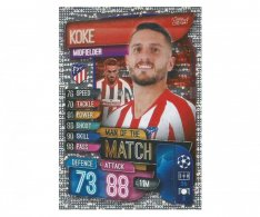 Fotbalová kartička 2019-2020  Topps Champions League Match Attax -  Man of the Match Koke Atletico Madrid