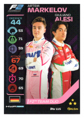 2020 Topps Formule 1 Turbo Attax 115 Team Duo F2 Artem Markelov & Giuliano Alesi